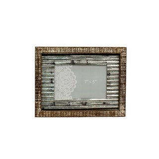 Western Moments Photo Frame Distressed Rusted Tin Center Brown