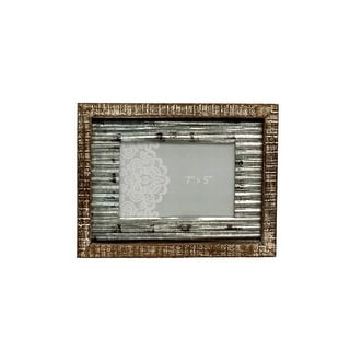 Western Moments Photo Frame Distressed Rusted Tin Center Brown 94022