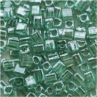 Miyuki 4mm Glass Cube Beads 'Transparent Sea Foam Luster' 2445 10 Grams