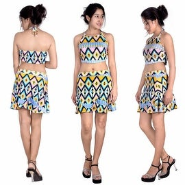 Womens Casual Mini Printed Beach Tank Dress Sundress AZTEC PRINT