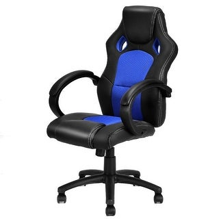 Costway High Back Race Car Style Bucket Seat Office Desk Chair Gaming Chair Blue