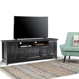 """WYNDENHALL Halifax SOLID WOOD 72 inch Wide Transitional TV Media Stand For TVs up to 80 inches - 72""""w x 19""""d x 26"""" h"""