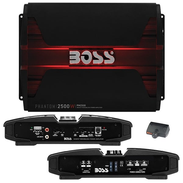 BOSS AUDIO PM2500 Phantom 2500-Watt, 2/4 Ohm Stable Class A/B Monoblock Car  Amplifier with Remote Subwoofer Control