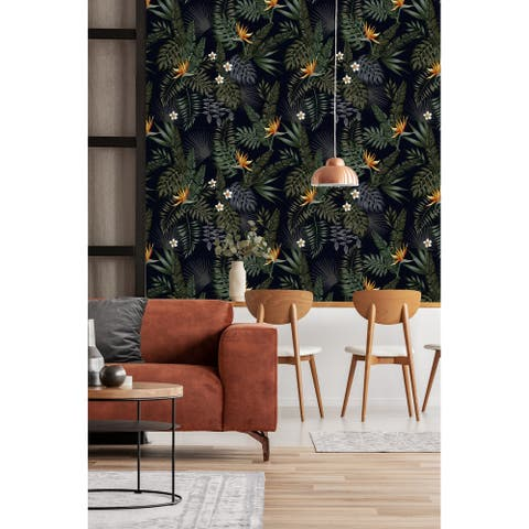 "Dark Palm Mix Peel and Stick Wallpaper - 25""W x 200""H"