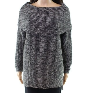 Tribal Black Women's Size Small S Marled Knit Boat Neck Sweater