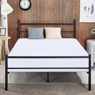 VECELO Queen Size Platform Bed Frame,Metal Beds Box Spring Replacement with Headboard and Footboard