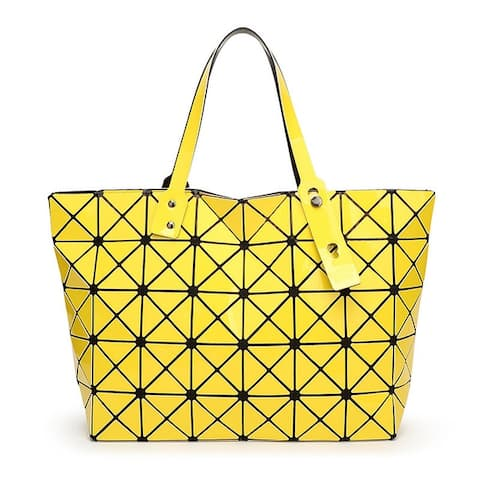 f7290f46a QZUnique Women's Shinny Laser Lattice PU Leather Folding Handbag Shoulder  Bag Tote Bag