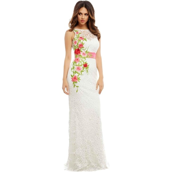 Mac Duggal Womens Formal Dress Lace Embroidered