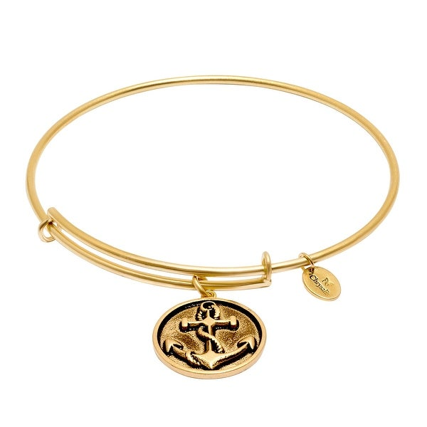 Chrysalis Expandable Anchor Bangle Bracelet in 14K Gold-Plated Brass - YELLOW
