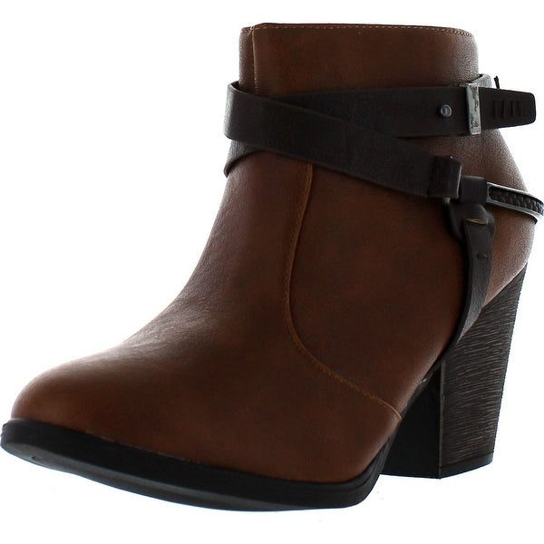 Dollhouse Womens Purpose Strappy Buckle Chunky Heel Fashion Bootie - Chestnut