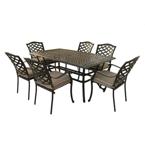 Aluminum 7-Piece Rectangular Dining Set With 6 Arm Chairs