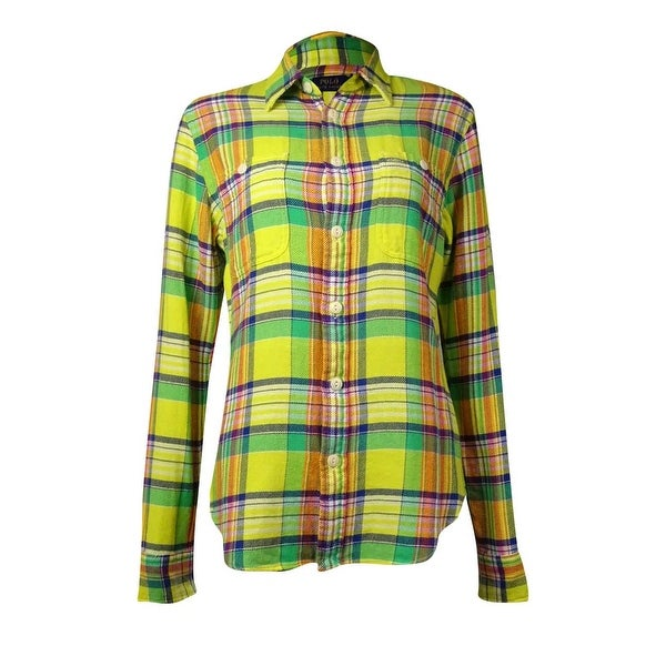 Polo Ralph Lauren Women's Cotton Plaid Button Down Top (8, Yellow/Green) - Yellow/Green - 8