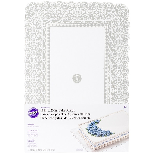 "Show 'N Serve Cake Boards-14""X20"" Rectangle White 6/Pkg"