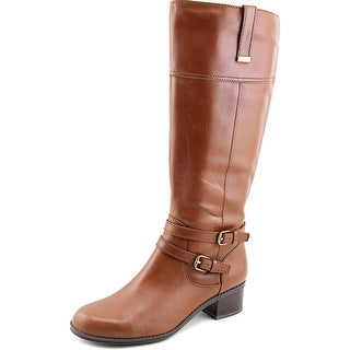 Bandolino Carlotta Wide Calf Women Round Toe Leather Brown Knee High Boot