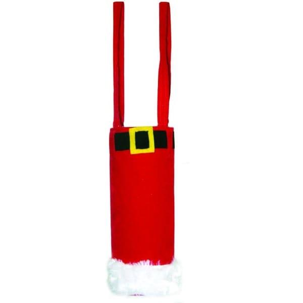 """Pack of 2 Faux Red Velvet Santa Claus Pants Wine Bottle Holder Gift Bags 17"""""""