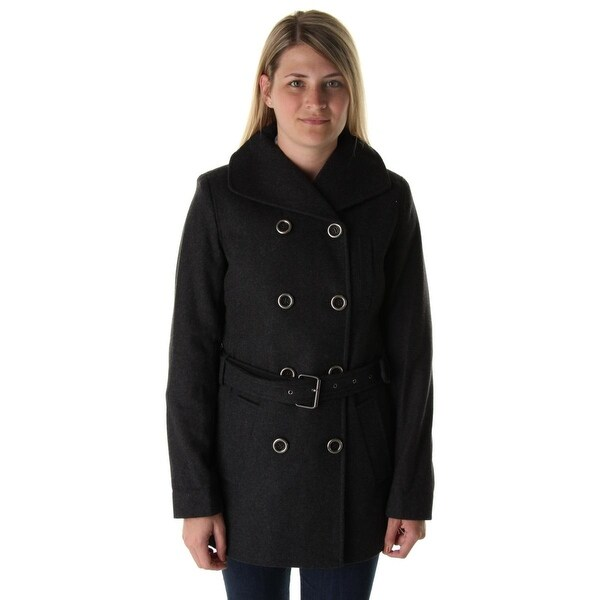 Nine West Womens Pea Coat Wool Blend Double Breasted