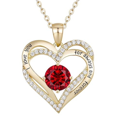 14K Gold Plated with Cubic Zirconia Double Heart Pendant