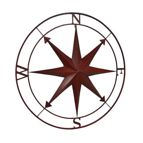 Indoor Outdoor Metal Compass Rose Wall Sculpture 39.5 Inch Diameter