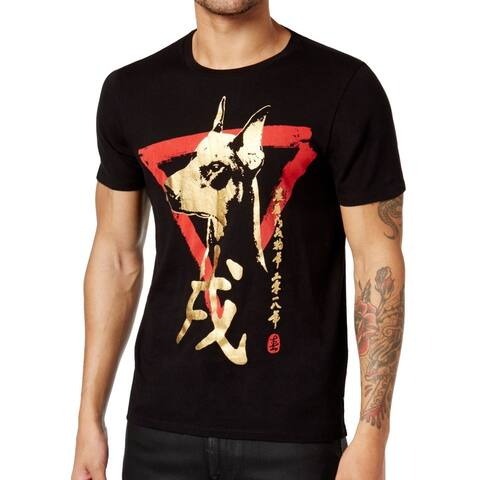 41a6cbd21 Guess Black Gold Mens Size XL Dog Graphic Print Crewneck Tee T-Shirt 395