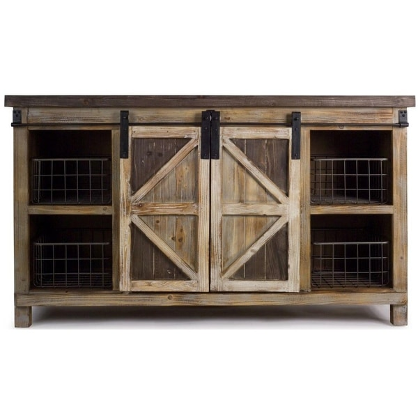 55l X 23h Country Rustic Wooden Storage Cabinet With Metal Basket Na