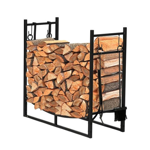 """43.5"""" Rectangle Indoor Outdoor Iron Fireplace Firewood Stand with 4 Tools 2 Large Hooks"""