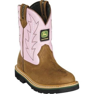 John Deere Western Boots Girls Johnny Popper Tan Pink JD3185