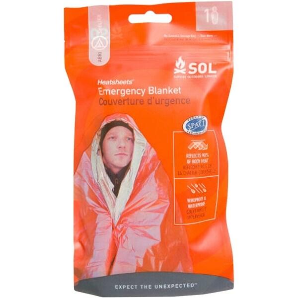 SOL Survive Outdoors Longer Heatsheets Wind and Waterproof Emergency Blanket - Orange