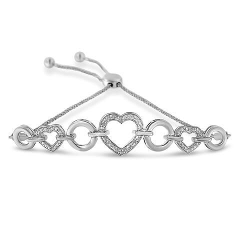 .925 Sterling SIlver Diamond Accent Heart Circle Bolo Bracelet (I2-I3, H-I)