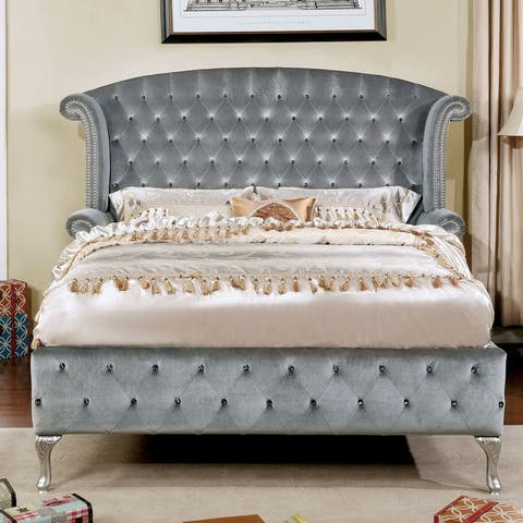 Furniture of America Iasi Contemporary Grey Fabric Tufted Platform Bed