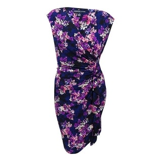 American Living Women's Ruffled Floral-Print Dress (16, Navy/Purple/Multi) - navy/purple/multi - 16