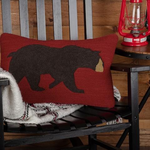 Wyatt Bear Hooked Pillow 14x22
