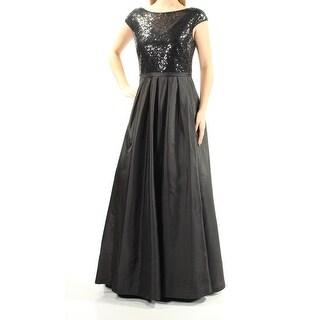 Womens Black Cap Sleeve Full Length A-Line Prom Dress Size: 10