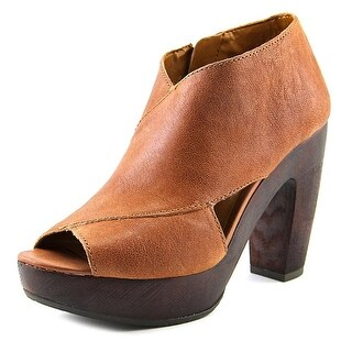 Lucky Brand Cerah Women Peep-Toe Leather Brown Ankle Boot