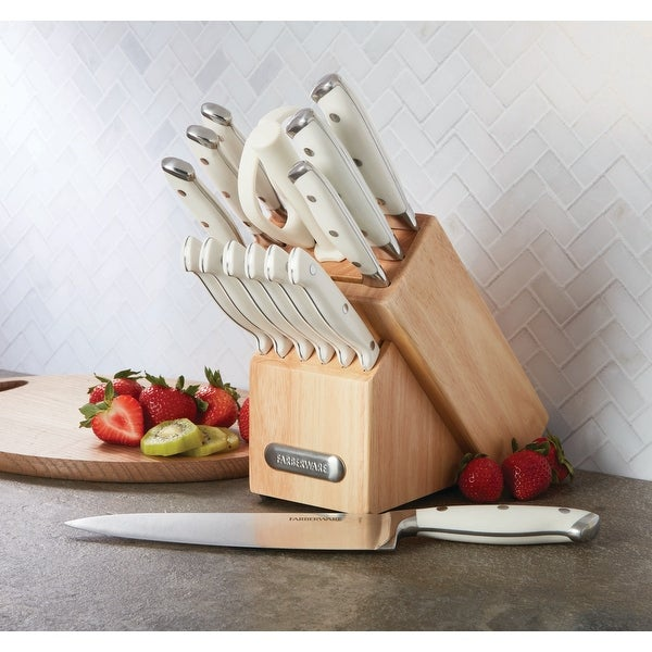 Farberware 15-Piece Forged Triple-Riveted White Handle Cutlery Set. Opens flyout.