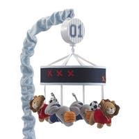 Lambs & Ivy Future All Star Blue Elephant and Lion Animal Sports Musical Baby Crib Mobile