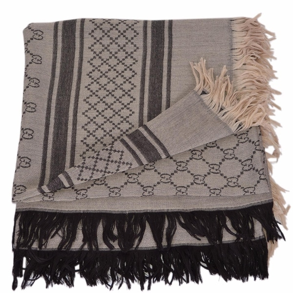 ee3ef2a003 Shop Gucci Women's 201494 Brown Wool Silk GG Diamante Large Scarf ...
