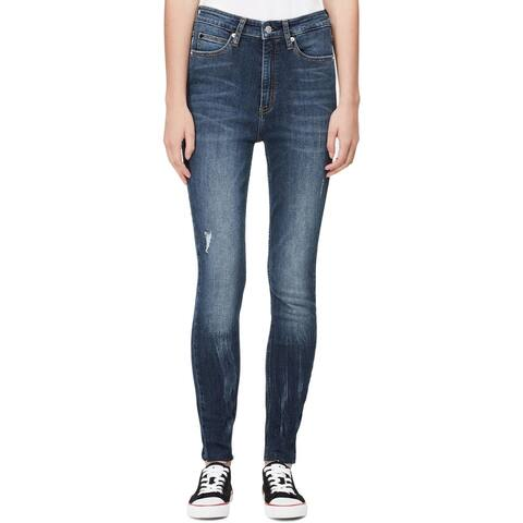 Calvin Klein Jeans Womens Skinny Jeans Released Hem High Rise