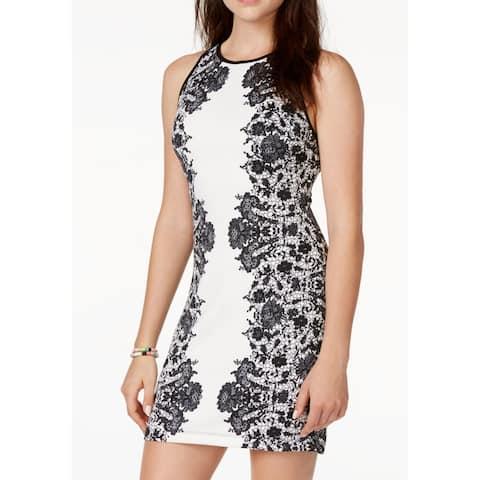 B. Darlin Junior Sheath Dress Scuba Contrast Trim Lace Print