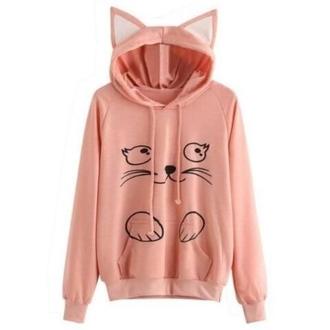 Black Letter Print Detail Cat Ear Hoodie Sweatshirt
