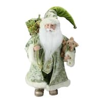"16"" St. Patrick's Irish Standing Santa Claus Christmas Figure with Teddy Bear and Gift Bag - Green"