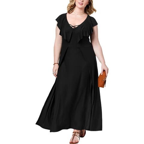 Planet Gold Womens Plus Maxi Dress Ruffle Sleeves Split