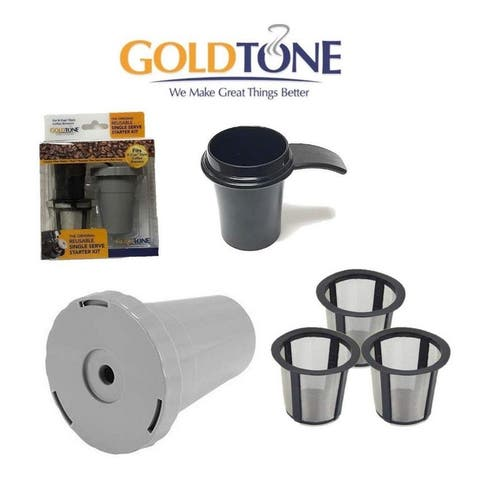 GoldTone K-Cup Value Bundle for KEURIG 1.0 Coffee Makers and Machines - (3) Filters (1) Filter Housing (1) Coffee Scoop