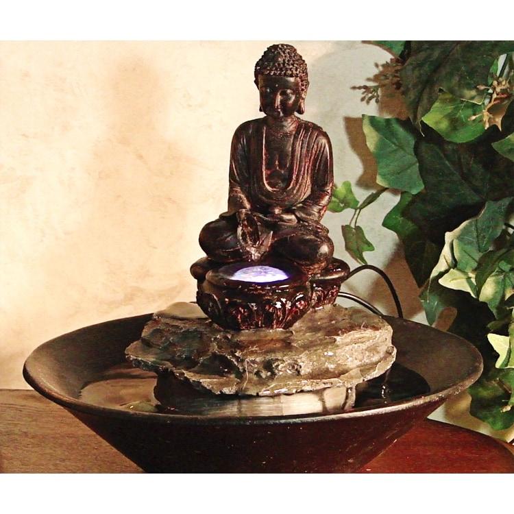 Alpine Garden Buddha Cobblestone Fountain w/ LED Light - Thumbnail 0