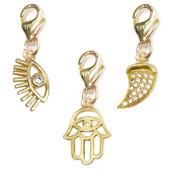 Julieta Jewelry Lucky Eye, Hamsa Hand, Horn 14k Gold Over Sterling Silver Clip-On Charm Set