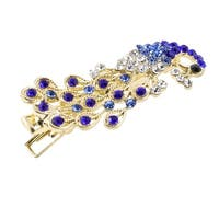 Unique Bargains Lady Wedding Party Peacock Rhinestone Barrette Hairpin Dark Blue