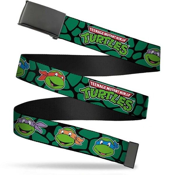 Blank Black Buckle Classic Teenage Mutant Ninja Turtles Faces Black Web Belt