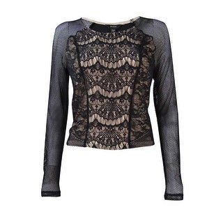 Guess Women's Mesh-Sleeves Lace Knit Top - m