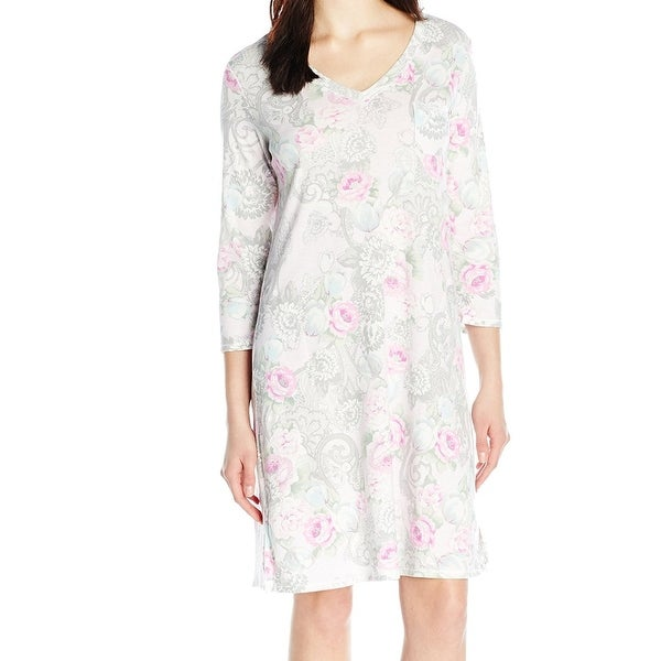 9128faa597ca1 Miss Elaine NEW Pink Womens Large L Floral V-Neck Nightgown Sleepwear.  Click to Zoom