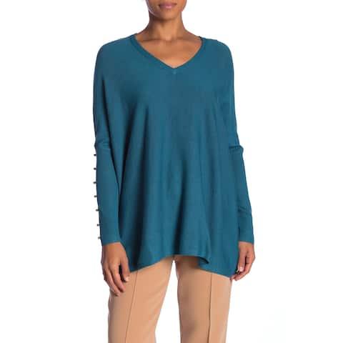 Joseph A. Womens Sweater Blue Size Medium M V-Neck Pullover Knit