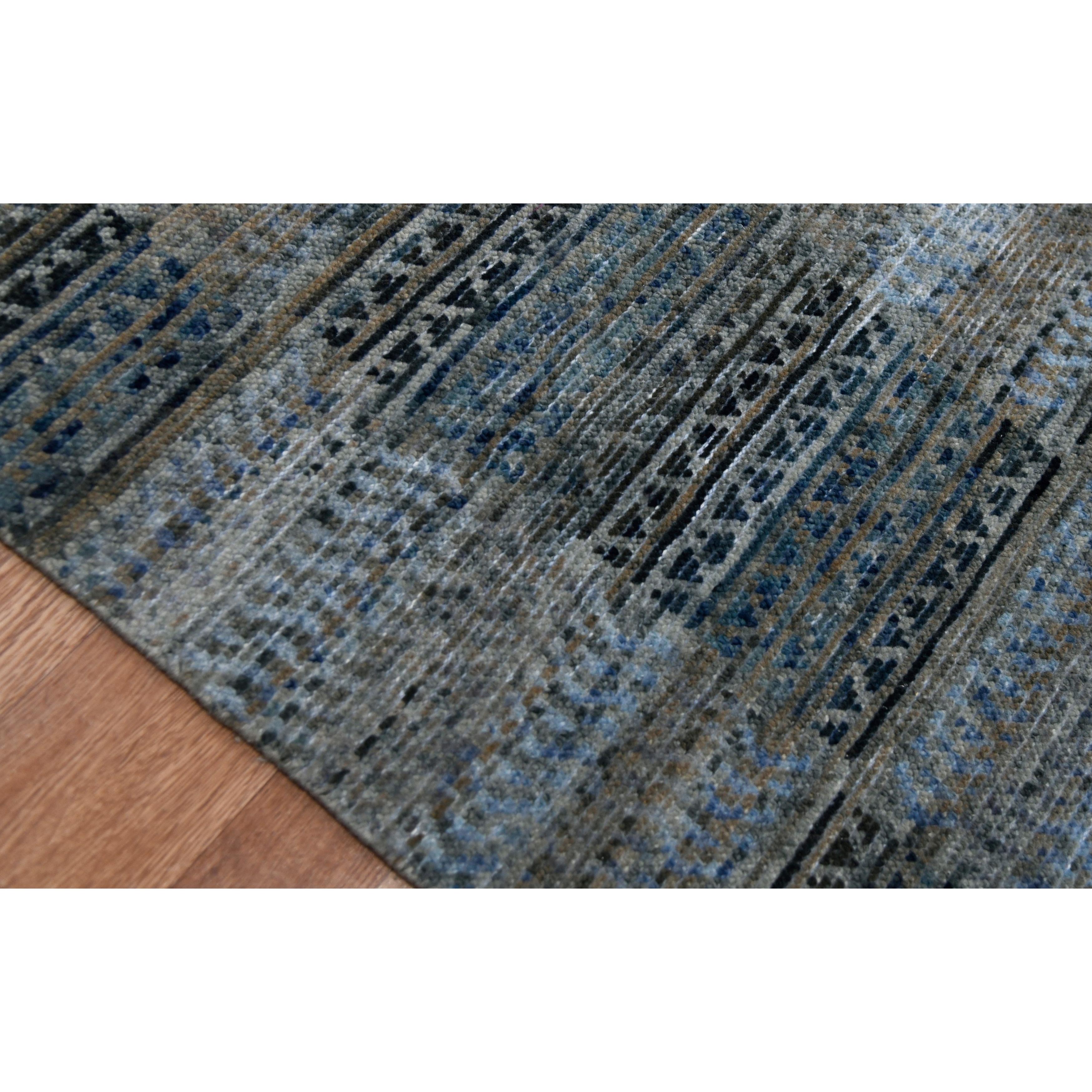 Lara Dee Handmade Knotted Geometric Wool Blend Gray Blue Area Rug Overstock 32324990